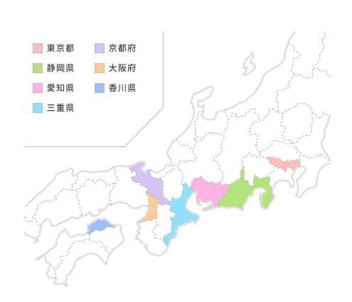 賛同クリニックが所在する都道府県マップ